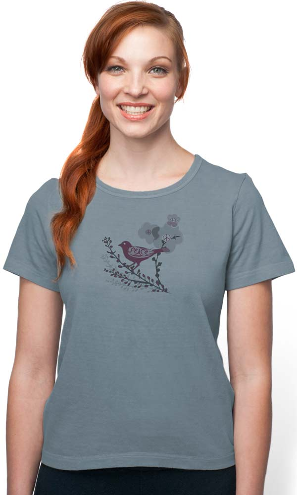 Vintage Bird on Organic Cotton Ladies Tee