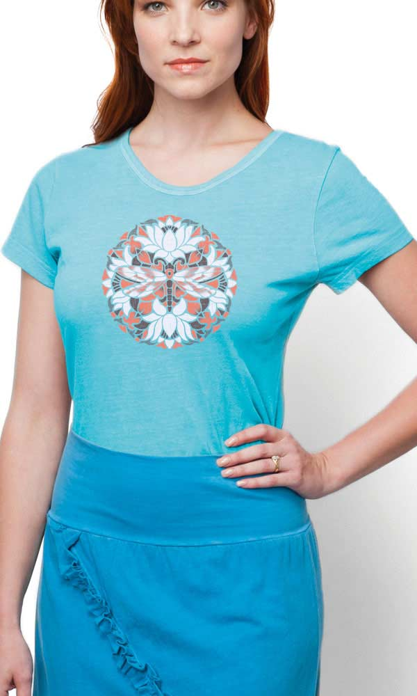 Batiked Dragonfly on Ladies Contour Tee