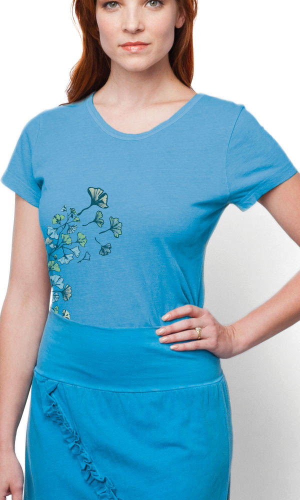 Ginkgo on Ladies Contour Tee