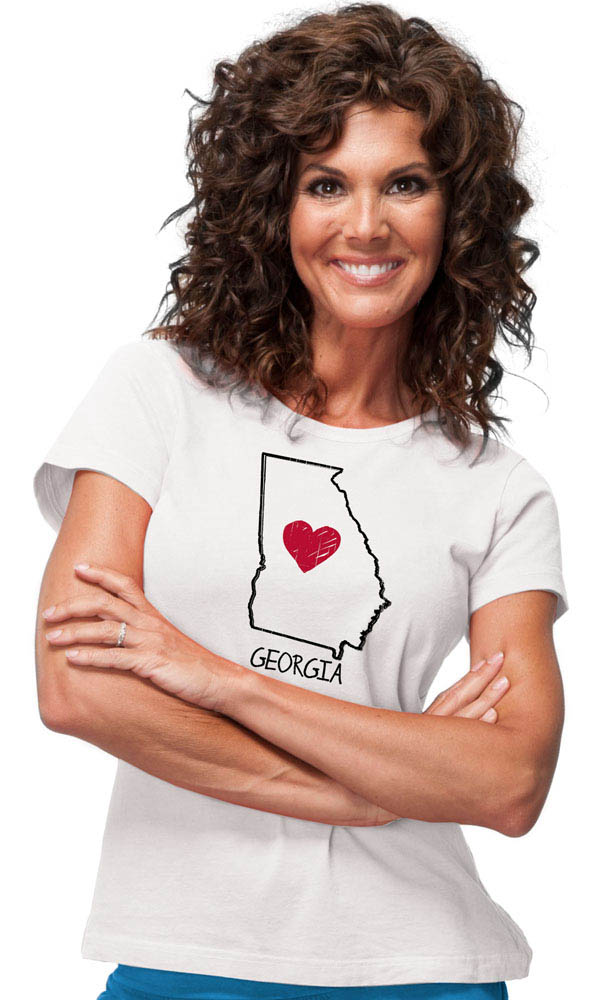 Georgia Heart on Ladies Contour Tee