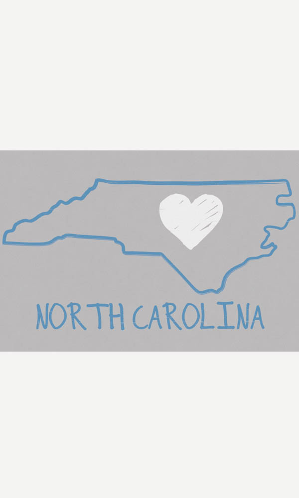 North Carolina Heart on Ladies Contour Tee