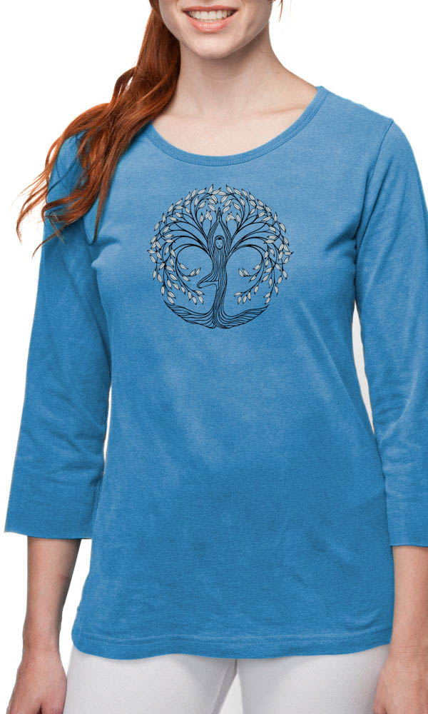 New Tree Pose on 3/4th Sleeve Ladies Tee