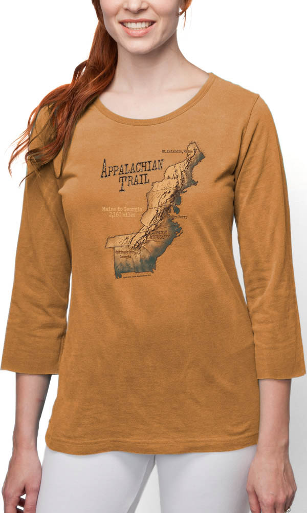 Appalachian Trail Map on 3/4th Sleeve Ladies Tee