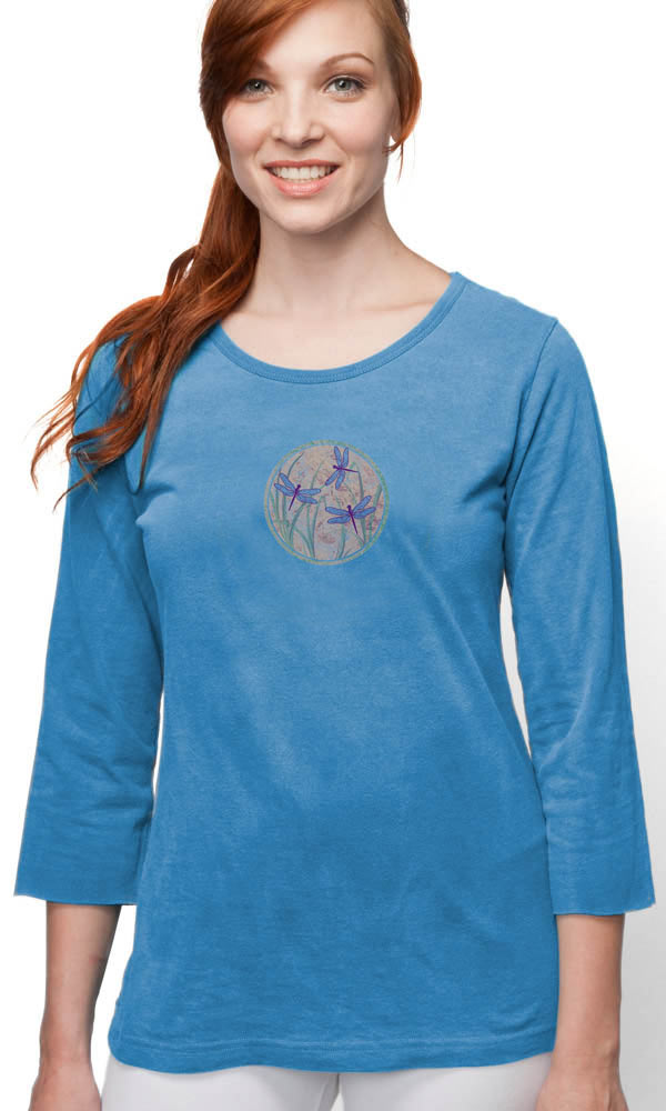 Dragonfly Globe on 3/4 Sleeve Ladies Tee