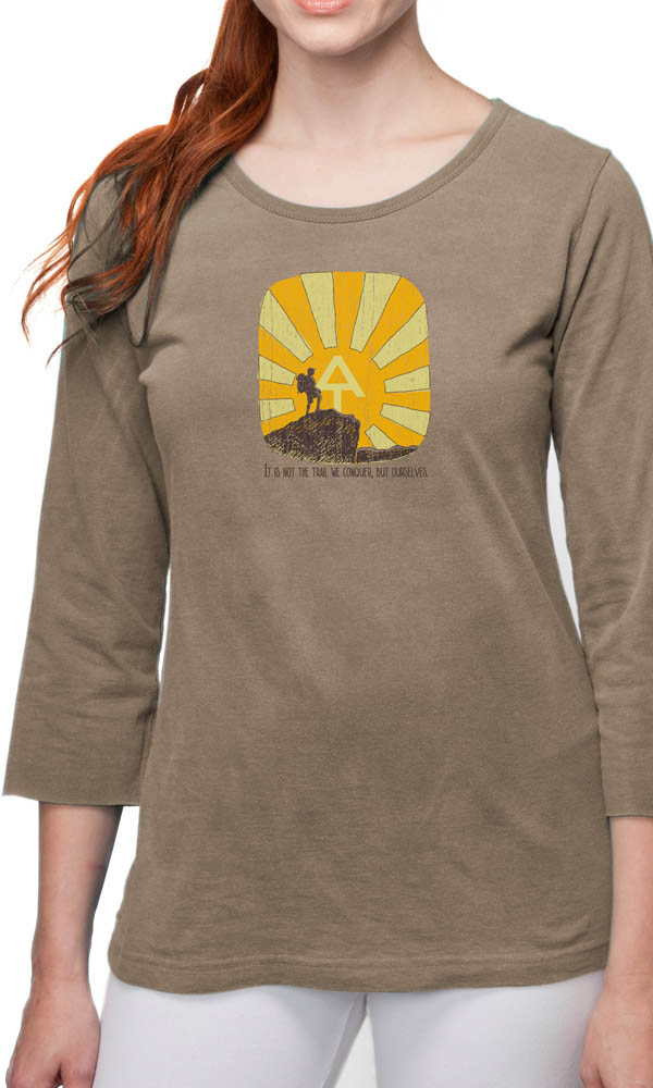 AT Hiker Mountain on 3/4th Sleeve Ladies Tee