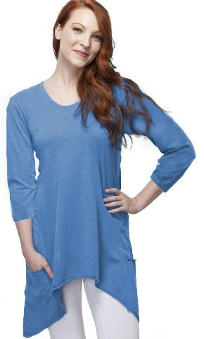 3/4 Sleeve Handkerchief Tunic Top