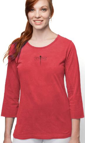 Single Dragonfly on 3/4 Sleeve Ladies Tee